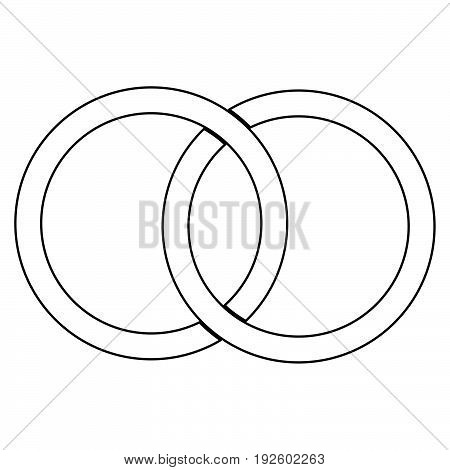 Two Bonded Wedding Rings  The Black Color Icon .