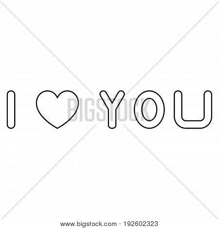 I Love You  The Black Color Icon .