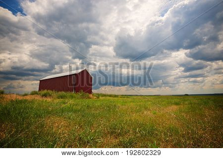 Barn, A Lonely Building In A Field