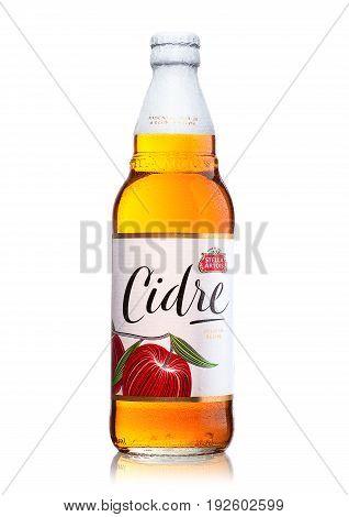 London, United Kingdom - June 22, 2017: Bottle Of Stella Artois Cidre Apple Cider On White.