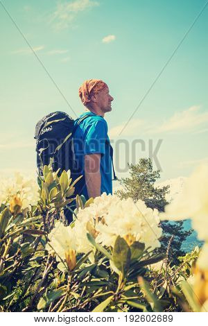 Man With Backpack, Traveler Stands In The Mountains