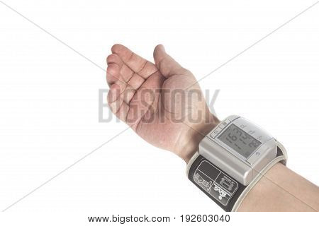 Man himself measured his own blood pressure on a wrist isolated on white
