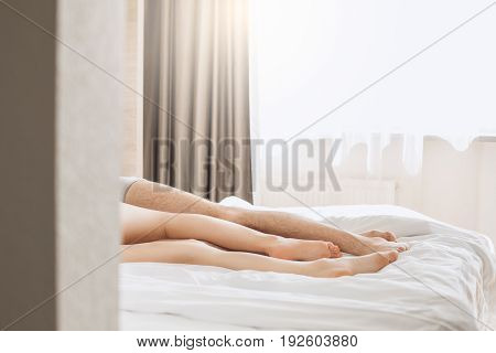 Young man and woman together tourism hotel passion