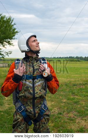 Portrait Of Resolute Skydiver