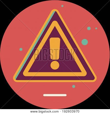 Attention sign icon with long shadow. Simple circle icon. Flat design style. Round icon. Modern flat icon in stylish colors. Web site page and mobile app design element.