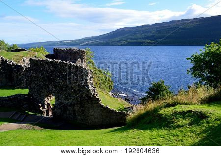 Stone ruins of Urquhart Castle in the Highlands of Scotland.