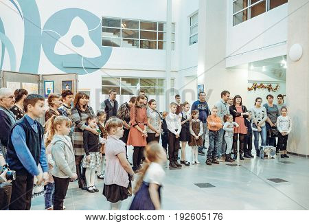 Udomlya City, Russia - 25 December 2015: Opening of the exhibition of children's drawings.