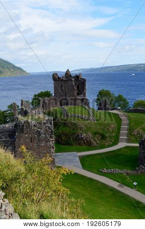 Urquhart Castle and Loch Ness in the Scottish Highlands.