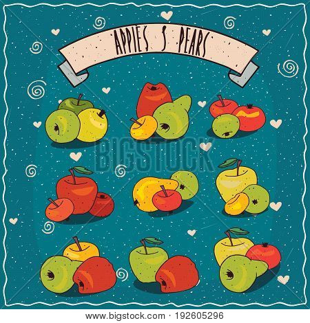 Set Of Clip Art Of Groups Of Apples And Pears