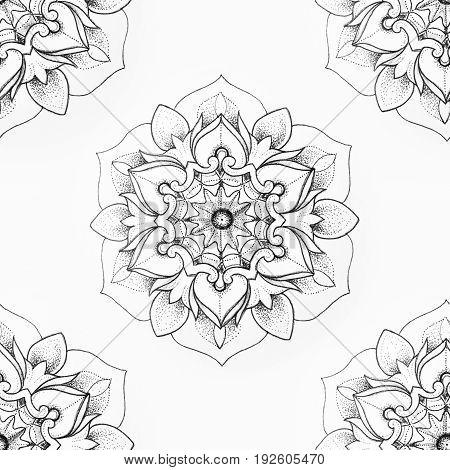 Seamless pattern of beautiful mandala on white background.