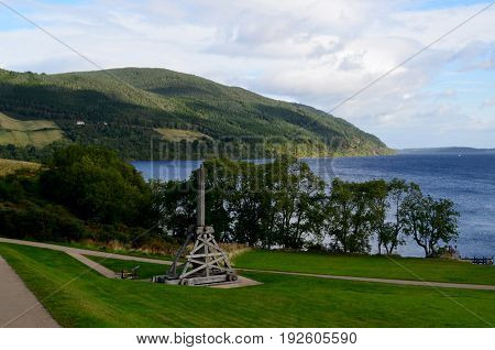 Wooden trebuchet on the grounds of Urquhart Castle in Scotland.