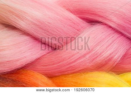 Pink And Orange Kanekalon Braids Texture
