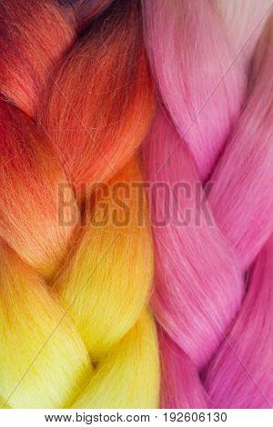 Pink And Orange Kanekalon Braids Texture