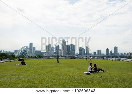 Singapore MAY 28 2017:People enjoying at Marina Barrage It is the water-supply place of Singapore brings about 3 benefits: a new source of water supply flood control and a lifestyle attraction.