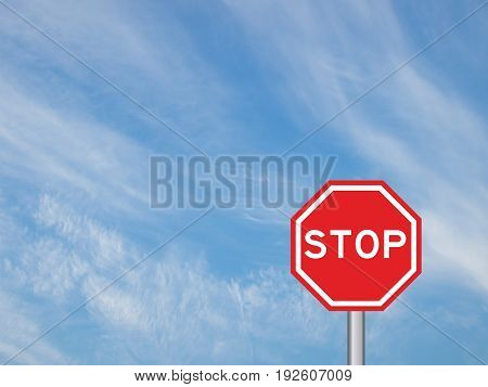 Stop rod sign with pole on white cloud and blue sky background