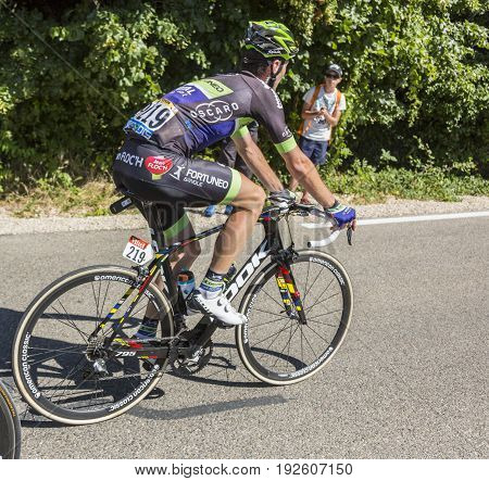 Mont Ventoux France - July 142016: The French cyclist Florian Vachon of Team Fortuneo-Vital Concept riding on the road to Mont Ventoux during the stage 12 of Tour de France 2016.
