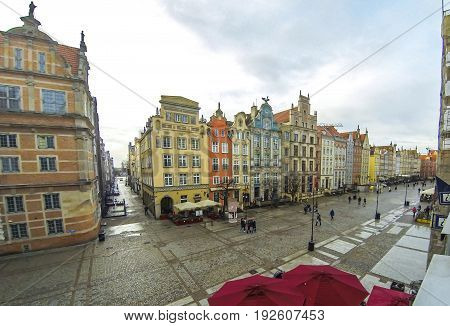 Long Market street (Polish: Dlugi Targ) in Gdansk Poland. Famous pedestrianised street lined with scenic Renaissance buildings in the Old Town of Gdansk (Time Lapse)