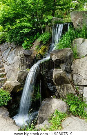 A Small waterfall decoration in the garden