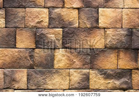 Brown And Orange Stone Wall Tiles Texture. Wall Natural Brown Stone.