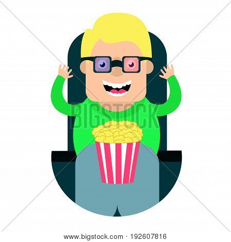 cartoon man watching a movie in 3 D glasses . Vector illustration.