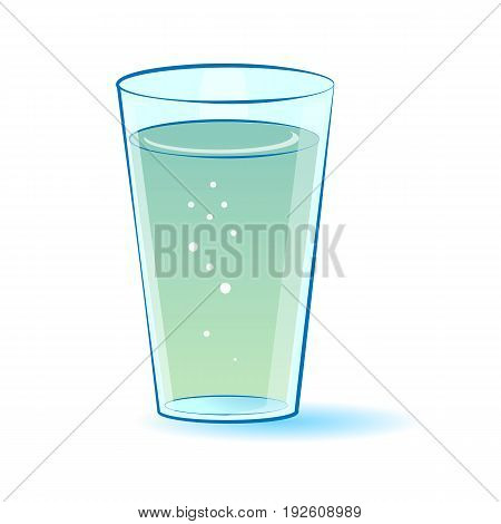 glass with water isolated illustration on white background. Vector