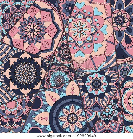 Patchwork Pattern. Vintage Decorative Elements. Hand Drawn Background. Islam, Arabic, Indian, Ottoma