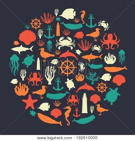 Sea icons and symbols set. Sea animals. Nautical design elements. Vector illustration