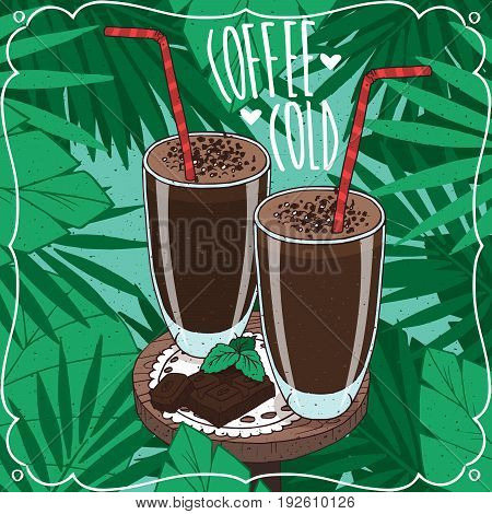 Two Glasses With Cold Coffee Or Choco Milkshake