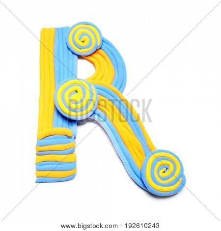 Plasticine letter R. Color plasticine alphabet, isolated. Blue and orange color of the alphabet
