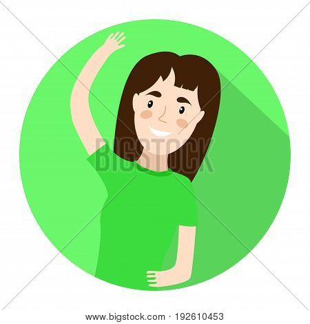 Girl doing stretching. fitness vector illustration icon