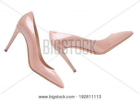 Beige high-heeled shoes. Women's shoes are beige