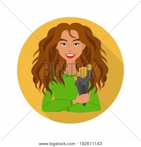 beautiful girl with an art brush in hands vector illustration. icon.