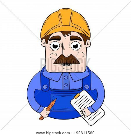vector of a cartoon worker in a hardhat with a folder in his hands. character design