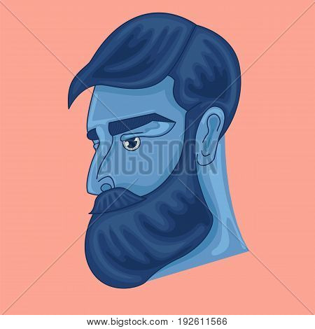 design of the character. a bearded man. vector