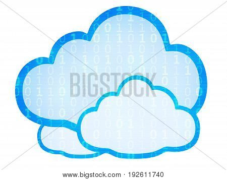 Abstract cloud storage symbol isolated. 3d illustration