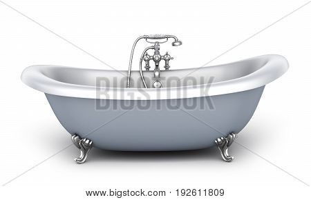 Bathtub and faucet on white background. 3d illustration