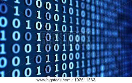 Abstract Blue binary code background. 3d illustration