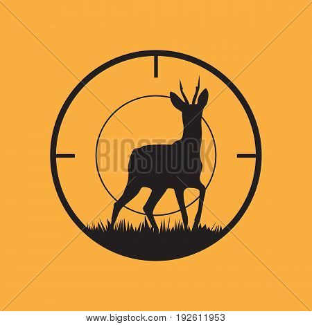Deer silhouette with target symbol. Vector illustration