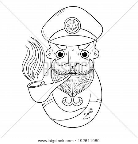 cartoon ship captain Smoking a pipe. vector illustration book coloring. design character.