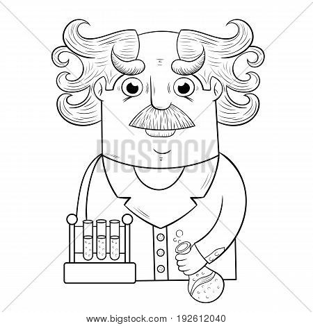 cute cartoon Professor with flasks. design of the character. white background.