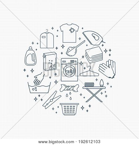 Collection of laundry icons. Set of housework outline icons. Round composition