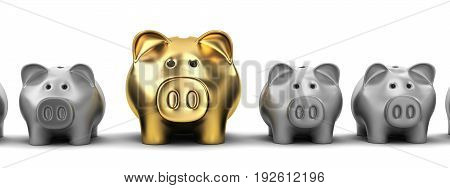 Piggy bank row and one pig gold. 3d illustration