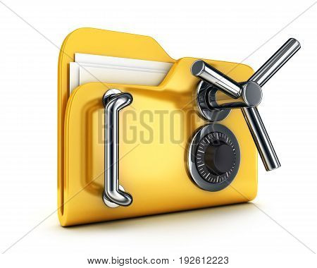Abstract safety file symbol on white background. 3d illustration