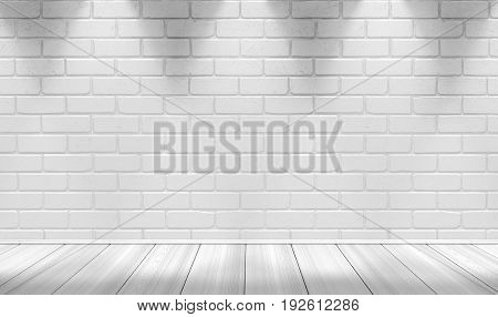 White brick wall background and light lamp. 3d illustration