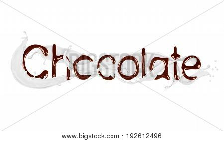 The word Chocolate written by liquid chocolate with milk splashes isolated on white background