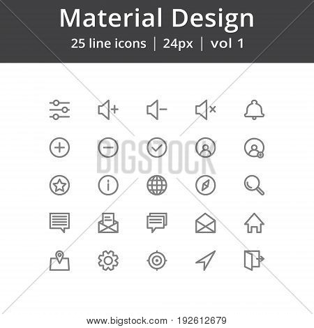 Simple material design icons, Icons for user interface. Pixel perfect