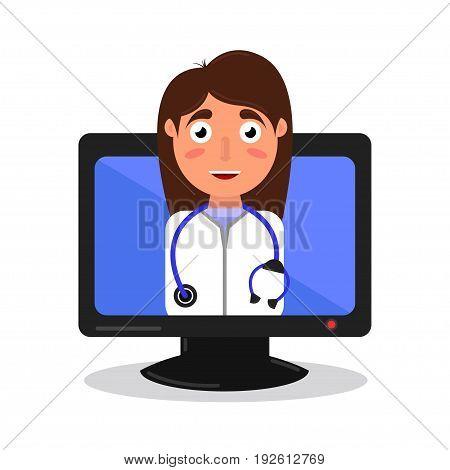 online medical consultation vector illustration flat icon.