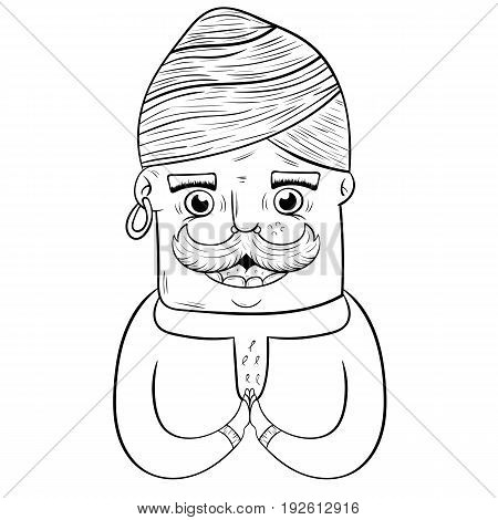 happy cartoon Indian guy in turban. coloring book. vector