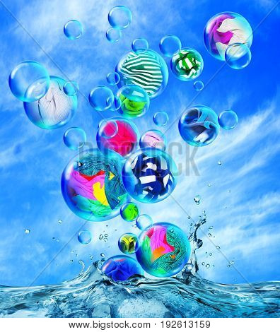 Clean clothes are in soap bubbles fly out of the water against the background of a cloudy sky