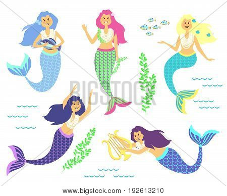 Mermaids. Little cute fish girls. Swimming pretty princess mermaids. Fish woman character, sea, ocean objects. Fantasy, fairy tale.Cartoon style vector children illustration